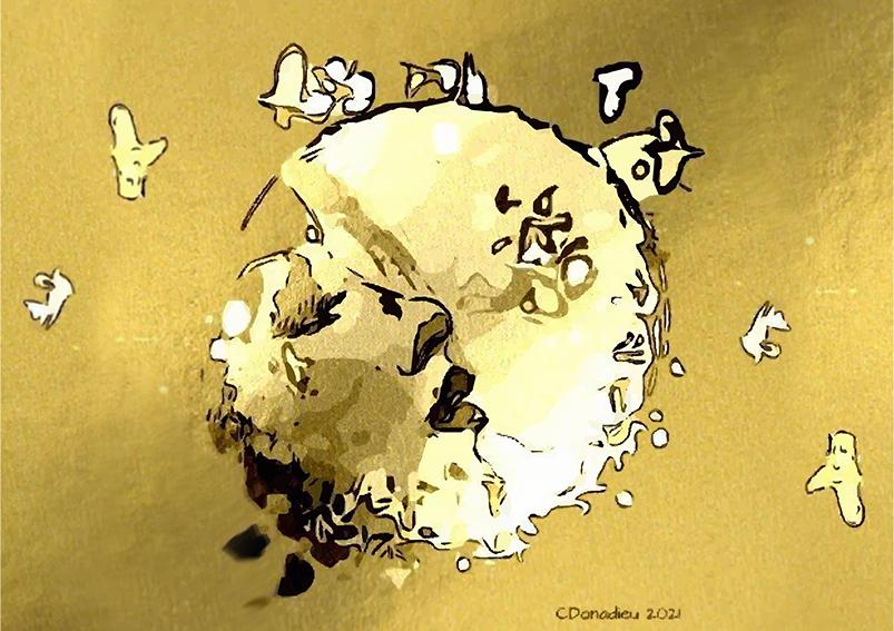 Dans une bulle dor4cm